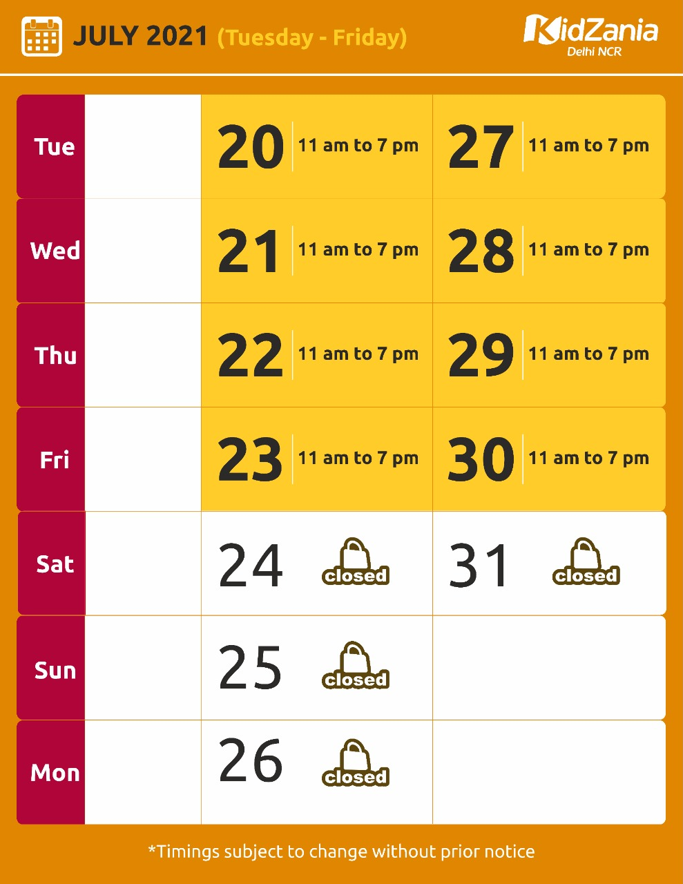 KidZania Delhi NCR Website Calendar