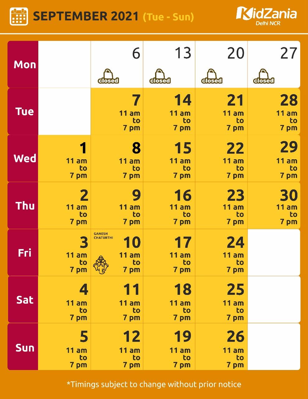 KidZania Delhi NCR September 2021 Calendar